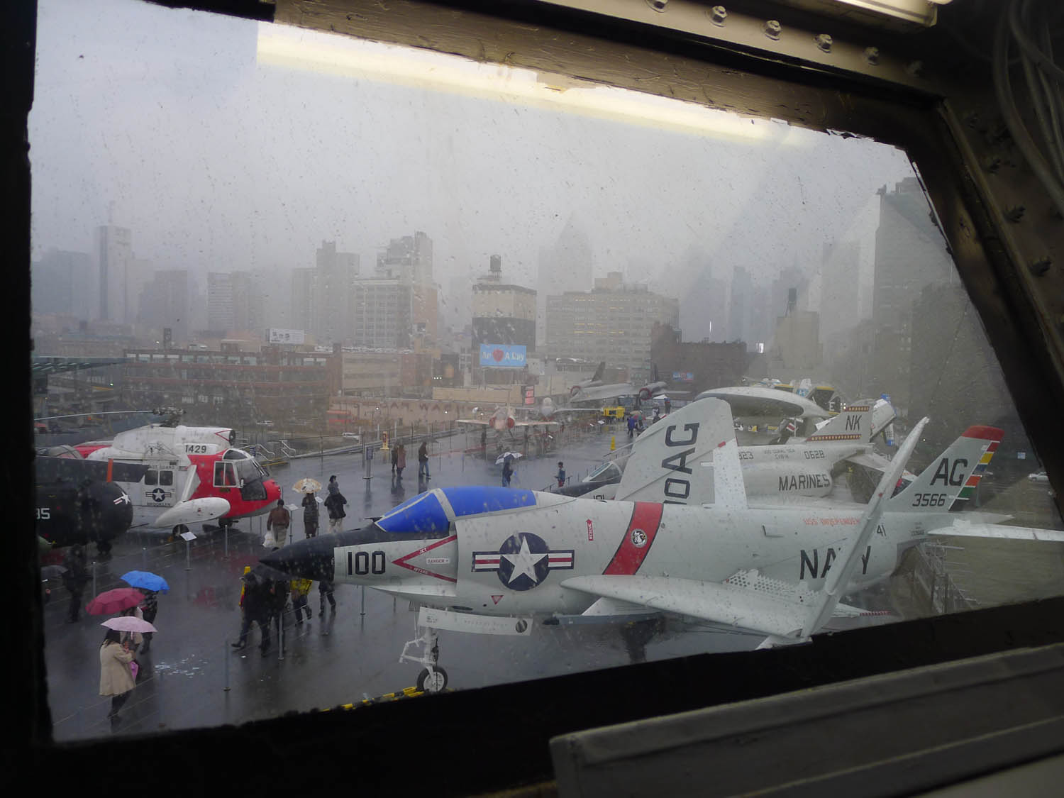 Looking out to the aircraft deck