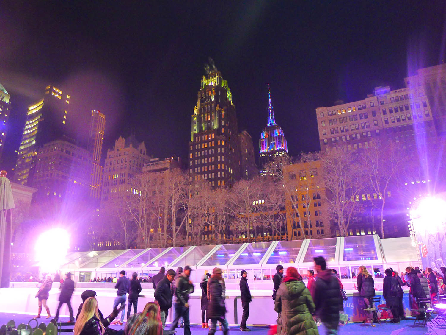 Look what else I saw from Bryant Park - the Empire State lit up for NYE