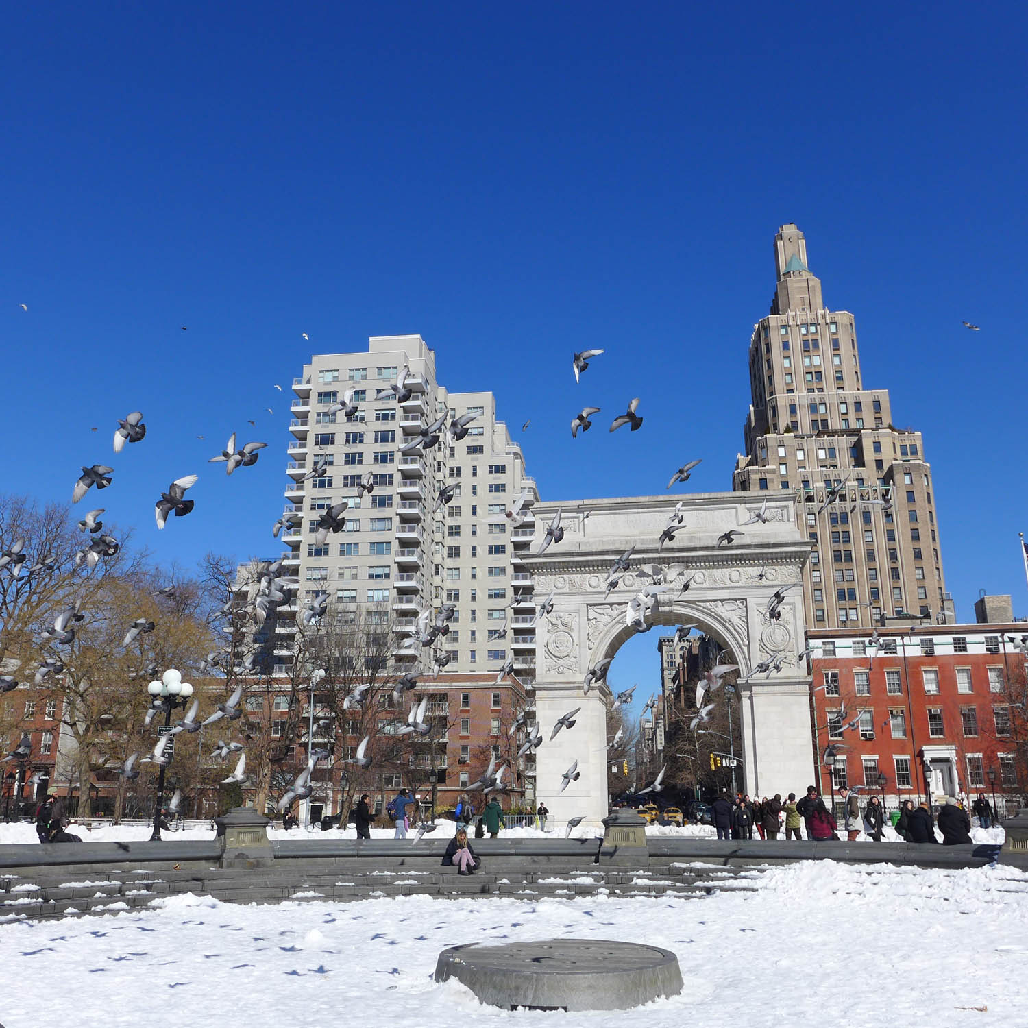 Washington Square Park in the snow