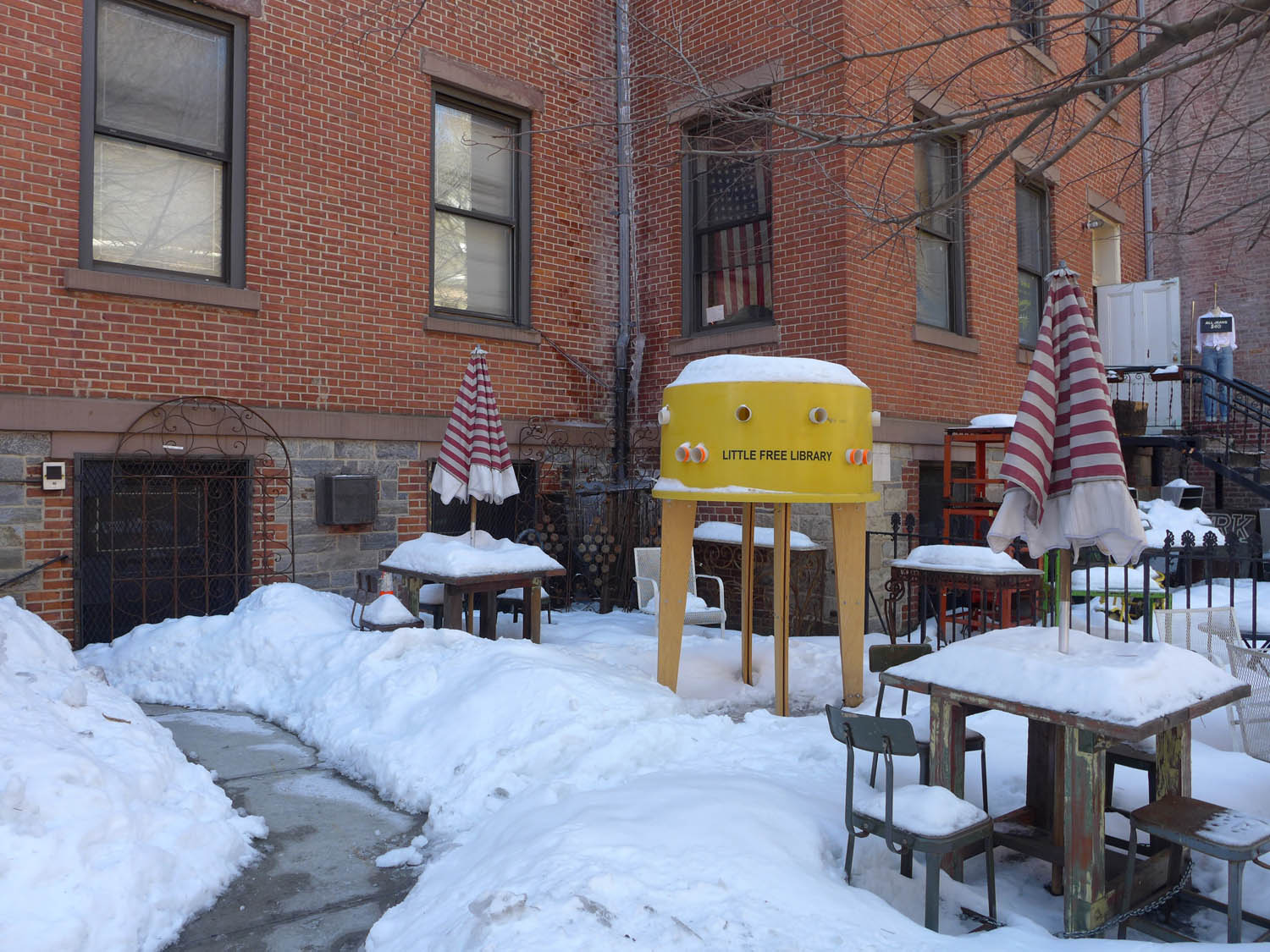 Passing the city's smallest library