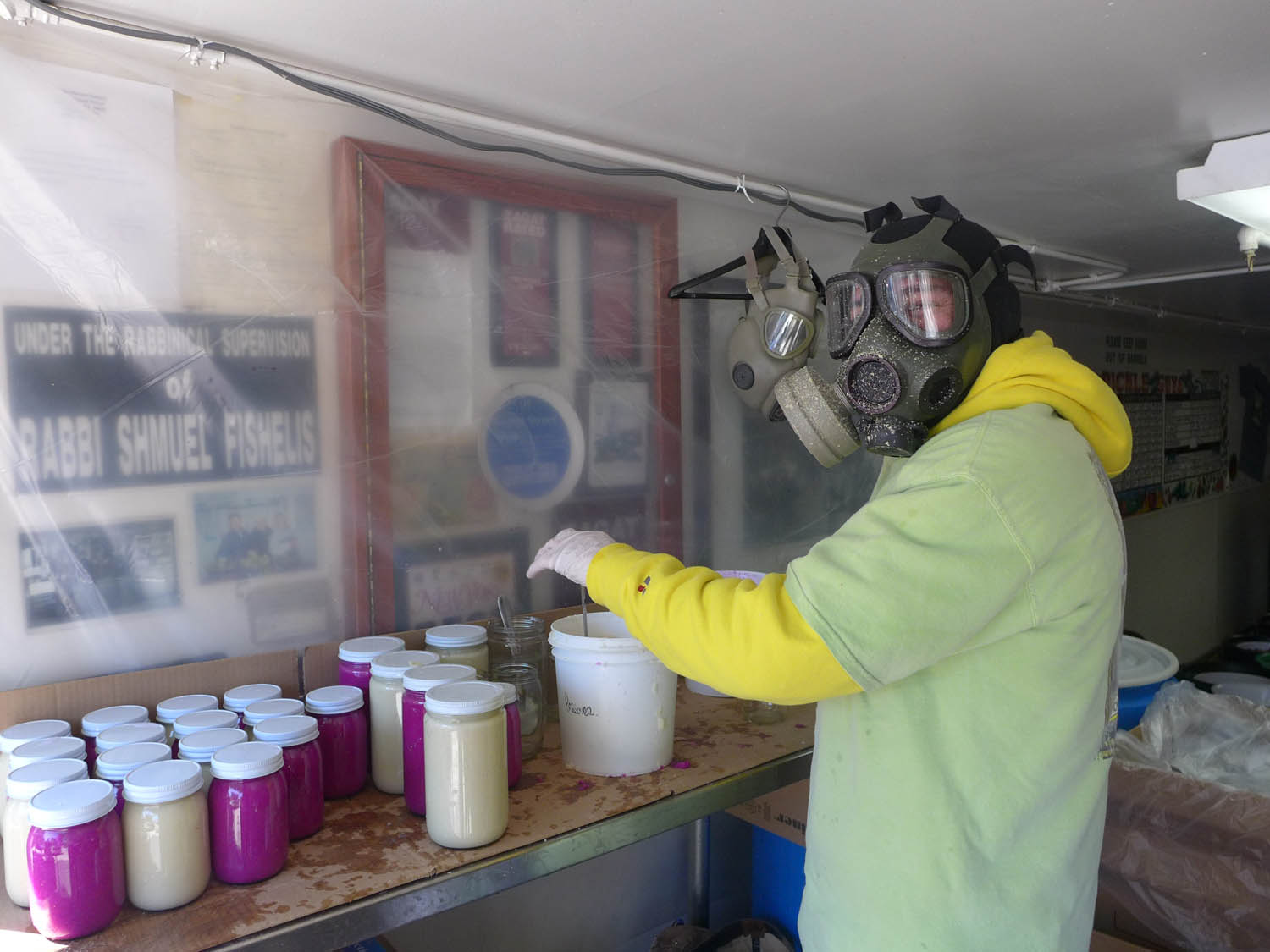 Then to the Pickle Guys, where this guy was making horseradish paste